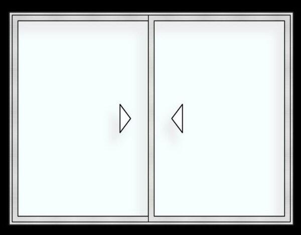 Puerta ventana corrediza r60 recta 2 carriles
